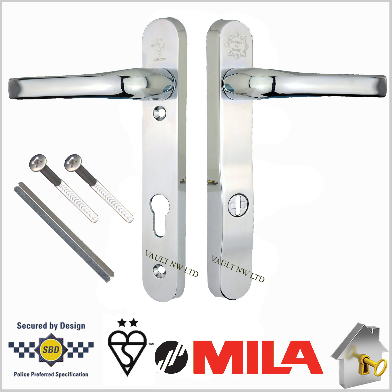 Mila Prosecure High Security Door Handles 220mm Backplate
