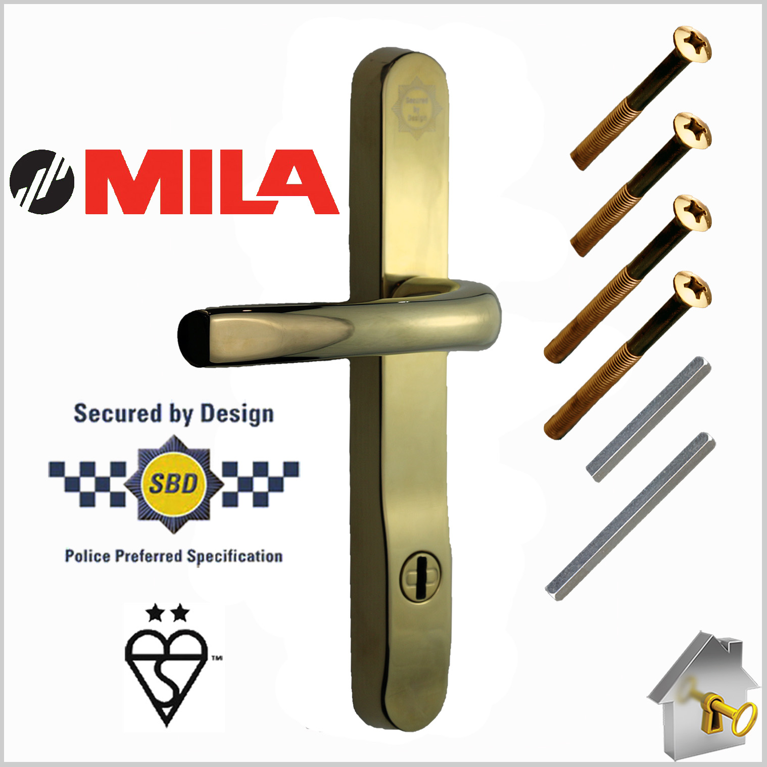 MILA Prosecure High Security Door Handles 240mm Backplate – 2 Star ...