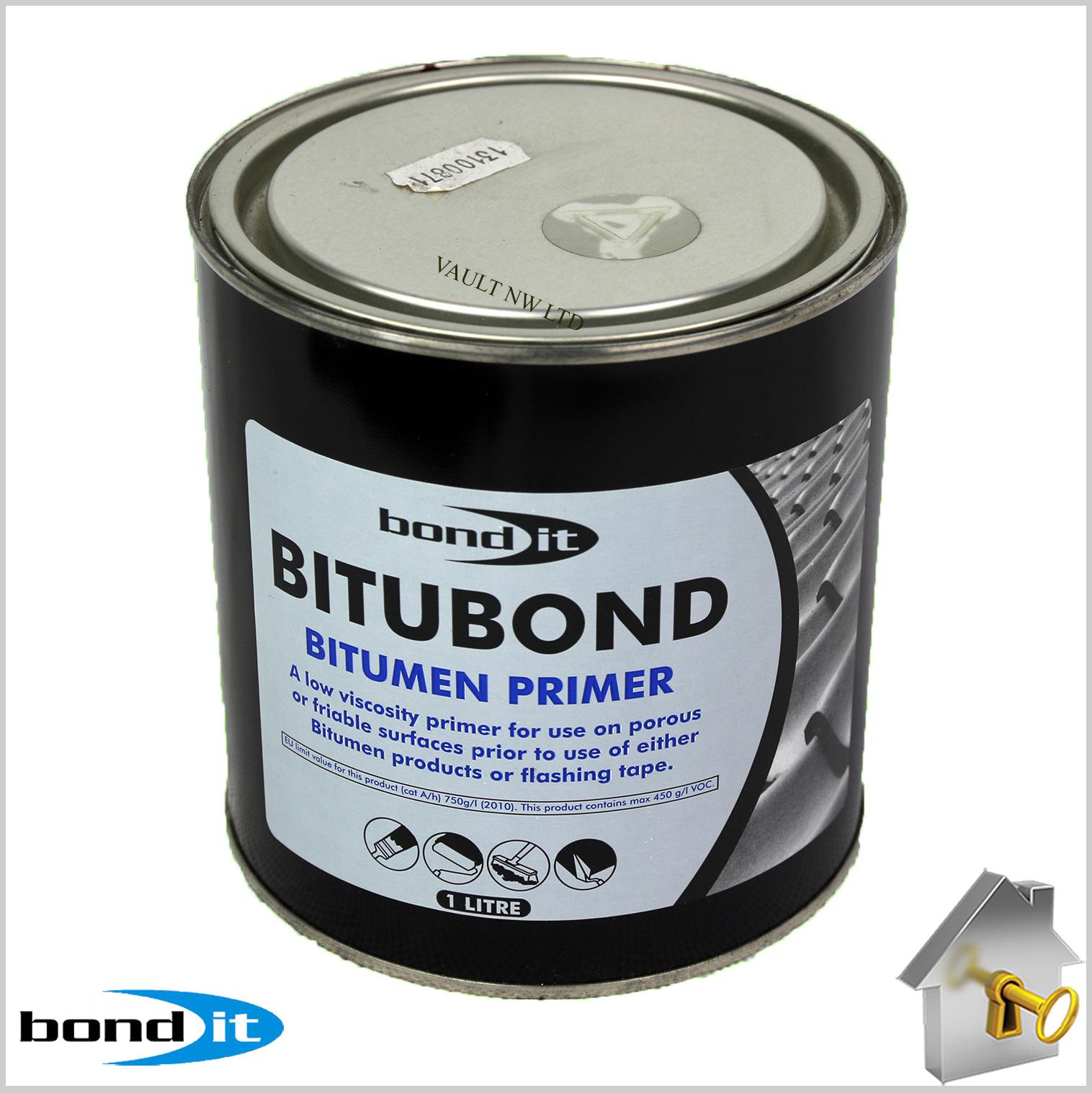 Bitumen Primer Paint Bond It 1l Flash Band Roof Leak Felt